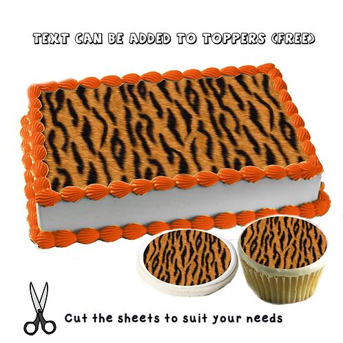 Edible Tiger pattern cake topper