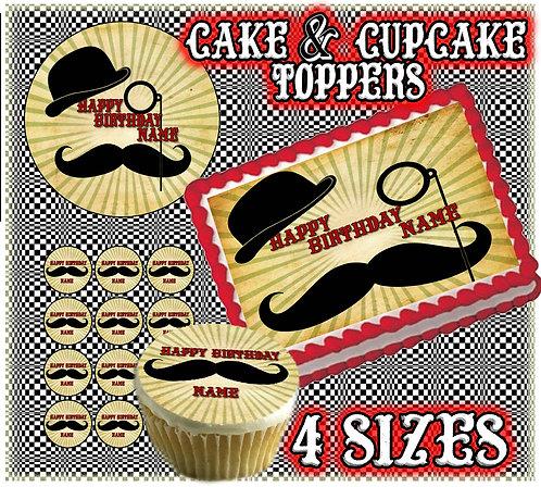 Vintage Gentlemen Cake topper - Monocle, mustache and hat.