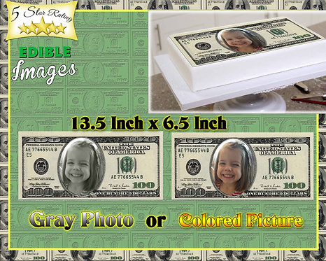 Edible $100 bill with photo