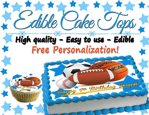 All star sports Edible cake topper  - Basketball, baseball, football, soccer