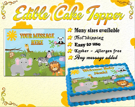 Safari zoo animals Edible cake topper