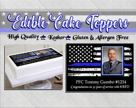 Police Retirement edible cake topper - Thin blue line flag