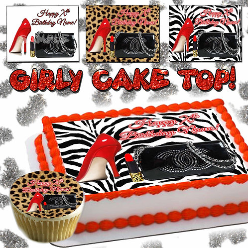 Fabulous Woman cake topper -high heels, purse, lip stick, zebra, cheetah print