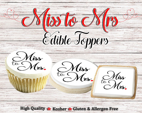Miss to Mrs. cupcake or cookie toppers - Wedding, Bridal shower, Engagement