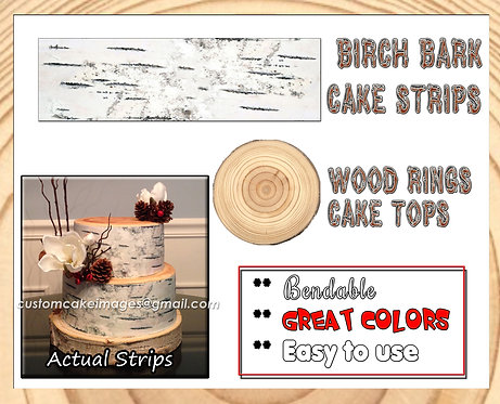 White Birch Bark strips or round wood rings