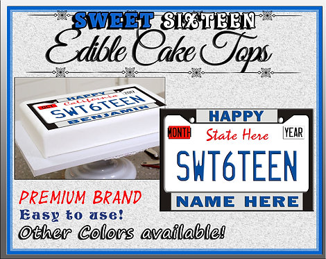Edible Blue Sweet sixteen license plates