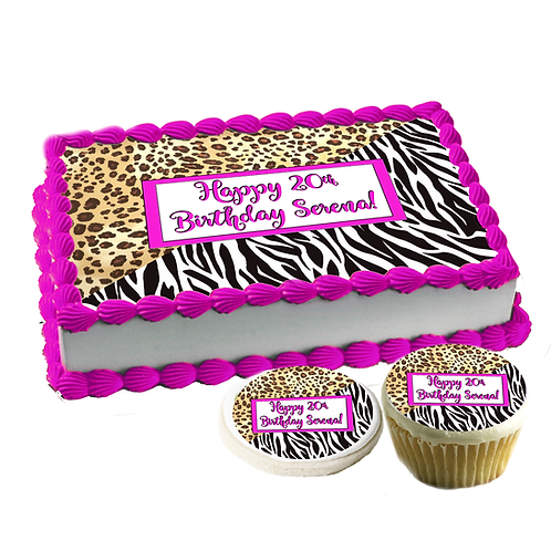 Cheetah-Leopard-Zebra print Edible cake topper