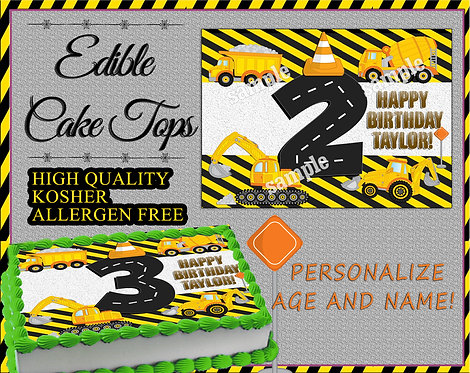 Construction zone cake or cupcake toppers - Dump truck, crane, backhoe