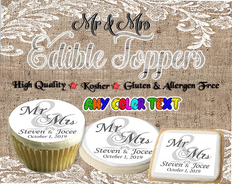 Mr. & Mrs. Wedding cupcake or cookie toppers