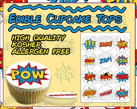 Edible Comic book words - cupcake or cookie toppers