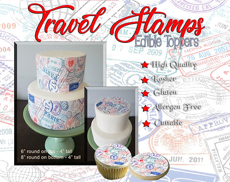 Edible travel cake stamps. Strips, sheets, cupcake, cookie topper