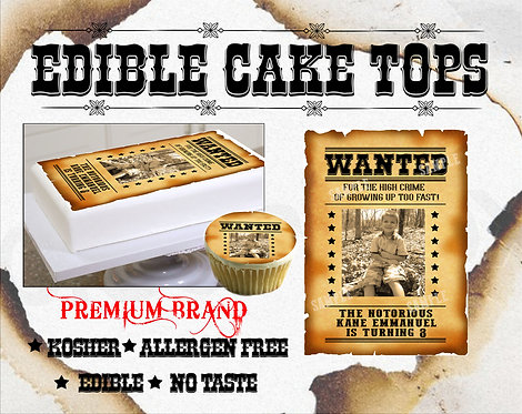 Wanted poster Edible cake topper