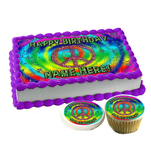 """Peace psychedelic"" Cake topper"
