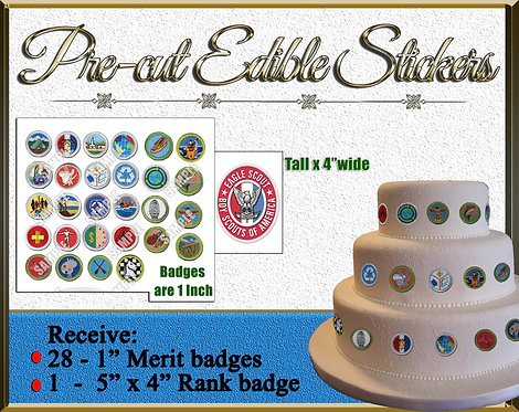 Edible Eagle boy scout Cake labels stickers patches