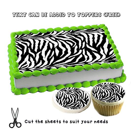 Edible Black and white zebra pattern cake topper