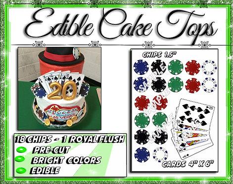Pre-cut Edible Poker chips and royal flush