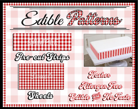 Red Gingham cake strips or sheet - checkered, flannel