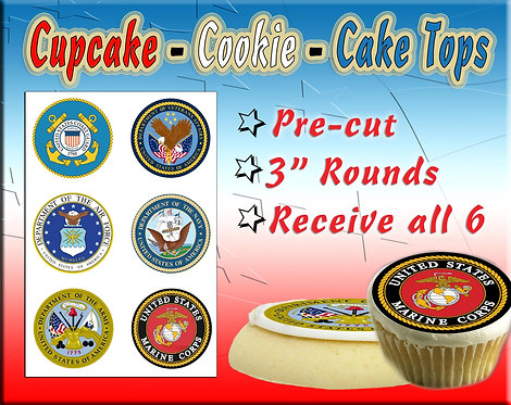 Edible military seals - cupcake or cookie toppers