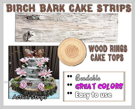 White Birch Bark strips or round wood rings