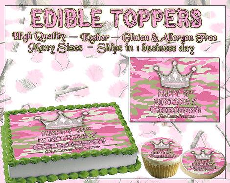 Pink Camo princess edible cake topper
