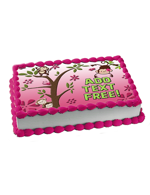Pink Monkey Cake topper