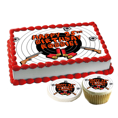 Hunting kid edible cake topper - bulls eye, shotgun, bullets