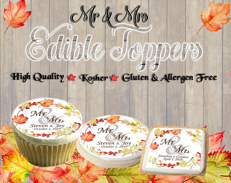 Fall Mr. & Mrs. Wedding cupcake or cookie toppers