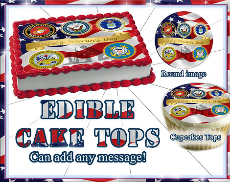 Veteran's Day cake or cupcake toppers