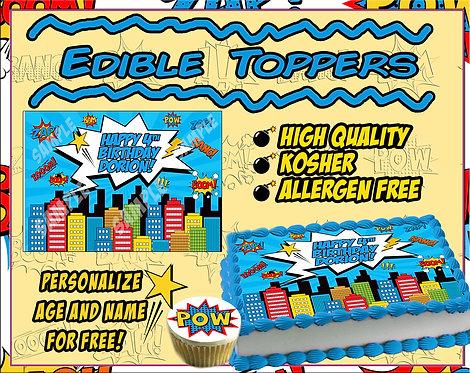 Edible Comic book cake topper
