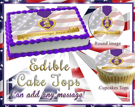 Purple heart Veteran cake or cupcake toppers