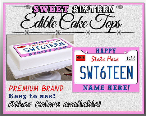 Edible Pink Sweet sixteen license plates