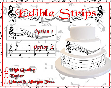 Music Notes - edible strips for sides of cakes