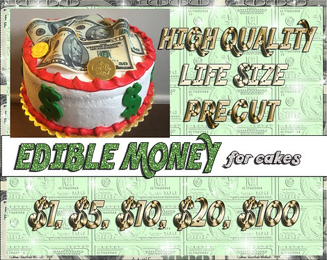 Edible money for cakes -$100, $50, $20, $10, $5, $1