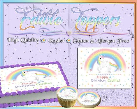 Pastel Unicorn face Edible cake topper
