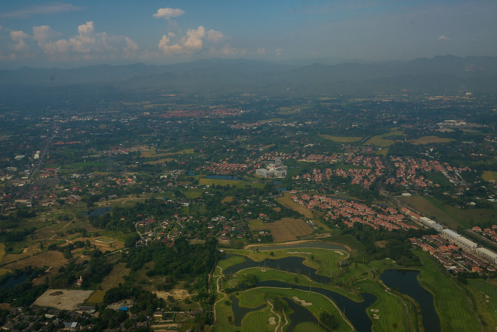 A view of Chiang Mai from the pane.