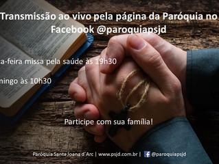 Missas - Transmissão domingo às 10h30 e terça-feira às 19h30