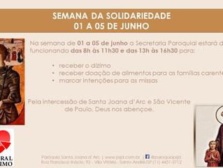 Semana da Solidariedade 01 a 05 de Junho. Participe!!!