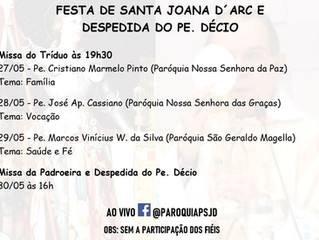 Festa de Santa Joana d´Arc e Despedida do Pe. Décio
