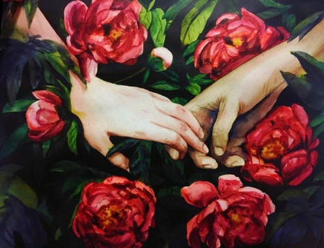 Holding hands in the roses (Watercolor, acrylic)