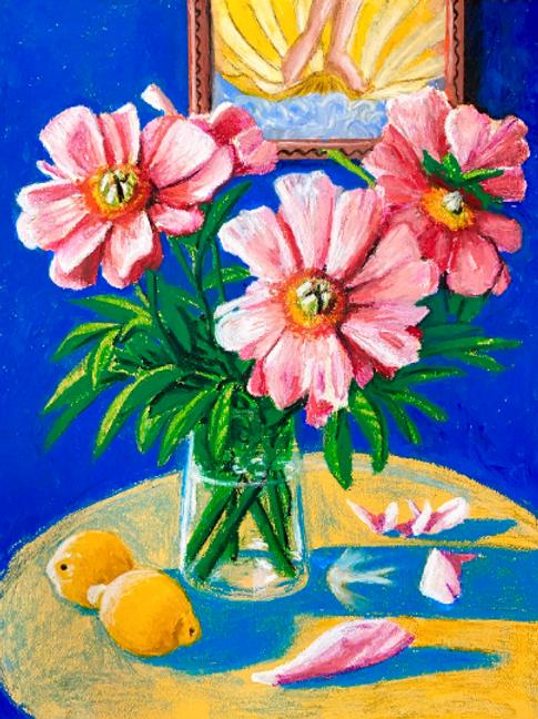 Pink Peonies With Lemons