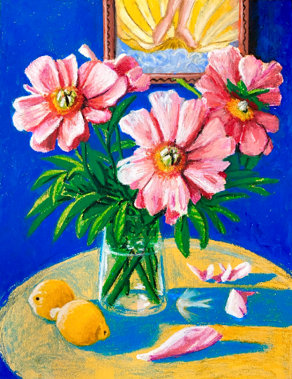 Pink Peonies with Lemons (Oil stick on paper)