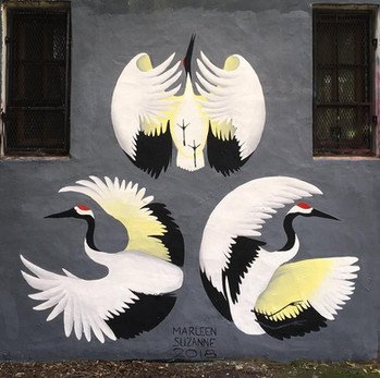 Three Japanese Cranes (Mural in Buenos Aires, Argentina)