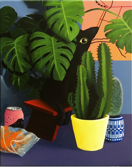 Cat and Cacti (Acrylic)