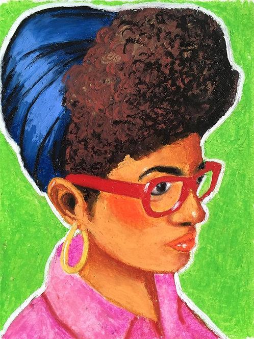Colorful portrait number 001 (Oil stick)