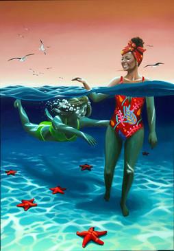Summer Painting Swimming (Acrylic)