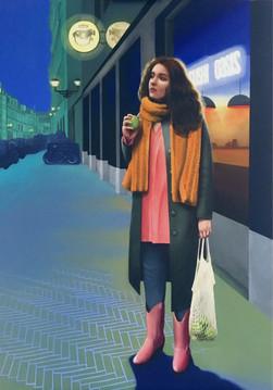 Melancholy with Street Light (Acrylic)