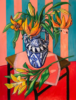 Moroccan Vase with Two Types of Lilies (Oil stick on paper)