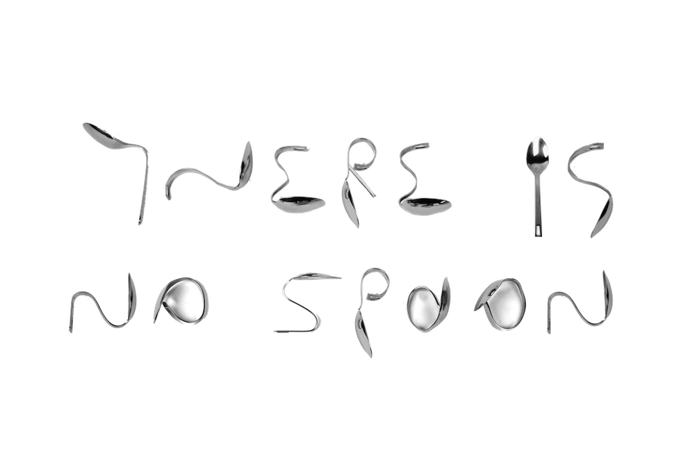 """There Is No Spoon / 2018 / 32x70x3 cm / Acrylic on steel / For seeking the truth, learned desperations and societal lies must be forgotten. """"Do not try and bend the spoon, that's impossible. Instead, only try to realize the truth...there is no spoon. Then you'll see that it is not the spoon that bends, it is only yourself."""" Matrix, '99"""