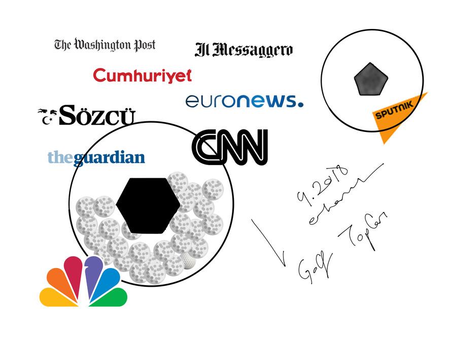 Buruşuk Gazete / Eskiz / Sporun toplumu gündemsizleştirmesi üzerine eleştiri. Topu sembolize eden küre içinde yer alan; golf topu koleksiyonununa, toplara sarılarak buruşturulmuş kanal logoları eşlik eder.