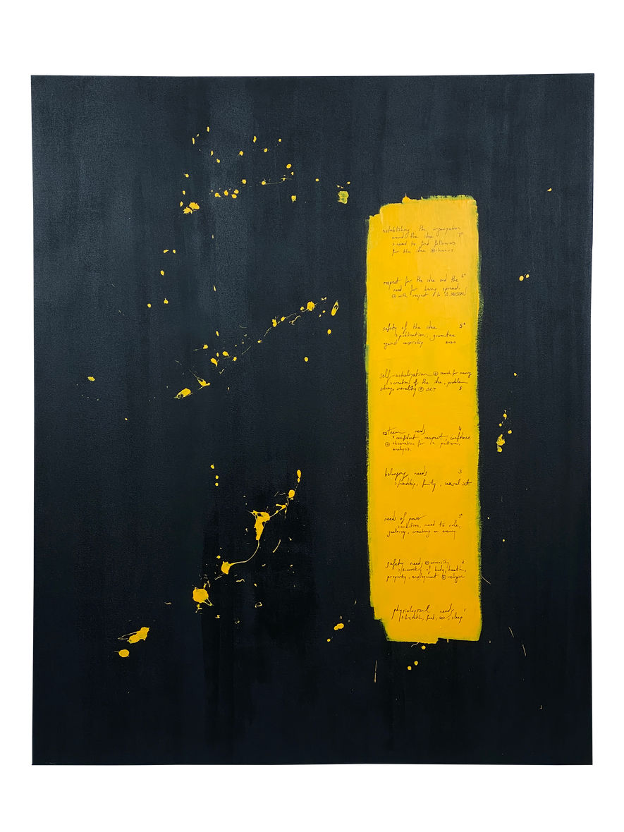 the Lift / 2020 / 80x100 cm / Acrylic on canvas / Additions to A. Maslow's Hierarchy of Needs; curiosity, belief, power, creating an enemy, analyze, idea and its steps by mentioning the transition and stop.